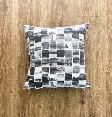 Customizable Cushion Cover, Cotton - Brush Stroke Cubes - Black