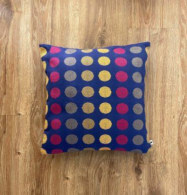 Customizable Cushion Cover, Cotton - Polka - Blue