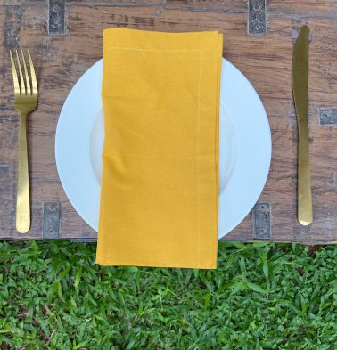Solid Cotton Napkins Golden Rod Yellow Set of 6