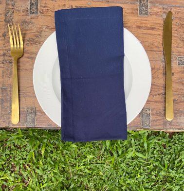 Solid Cotton Napkins Navy Blue Set of 6