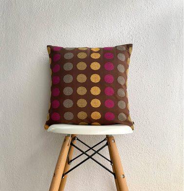Polka Cotton Cushion cover Brown