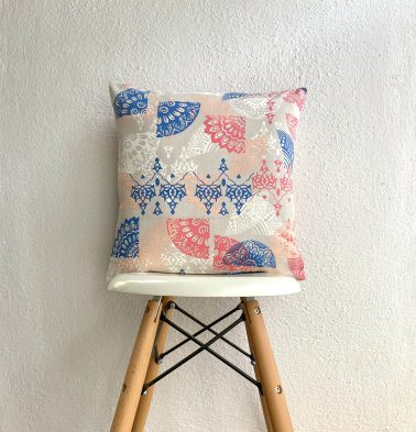 Scattered Cotton Cushion Cover Red/Blue 16
