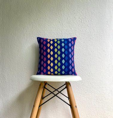 Diamond Cotton Cushion Cover Blue 12