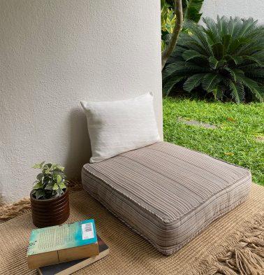 Handwoven Stripes Cotton Floor Cushion Beige