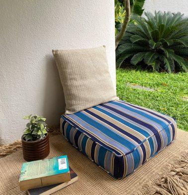 Handwoven Stripes Cotton Floor Cushion Blue/Beige