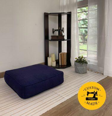 Customizable Floor Cushion, Kadoor Cotton - Indigo Blue