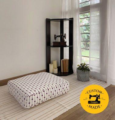 Customizable Floor Cushion, Cotton - Diamond Lines  - Violet