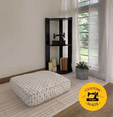 Customizable Floor Cushion, Cotton - Diamond Lines - Grey