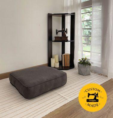 Customizable Floor Cushion, Chambray Cotton - Urban Chic Dark Grey