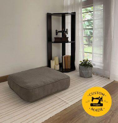 Customizable Floor Cushion, Chambray Cotton - Nickel Grey