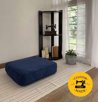 Customizable Floor Cushion, Chambray Cotton - Indigo Blue