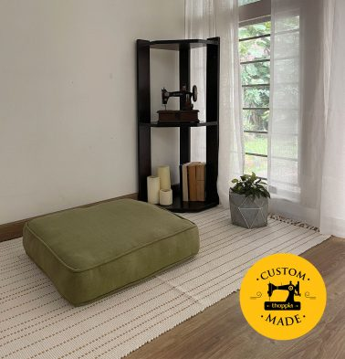Customizable Floor Cushion, Chambray Cotton - Iguana Green