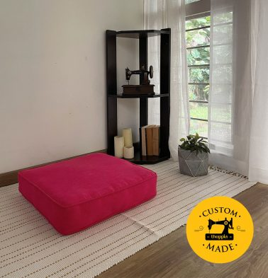 Customizable Floor Cushion, Textura Cotton - Teaberry Pink