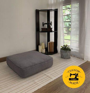 Customizable Floor Cushion, Chambray Cotton - Drizzle Grey