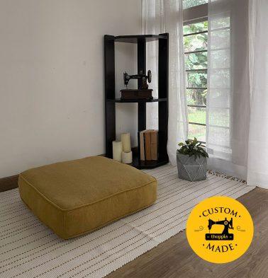 Customizable Floor Cushion, Chambray Cotton - Yellow/Grey