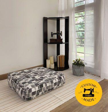 Customizable Floor Cushion, Cotton - Brush Stroke Cubes - Black