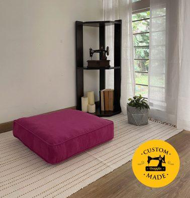 Customizable Floor Cushion, Textura Cotton - Magenta Haze
