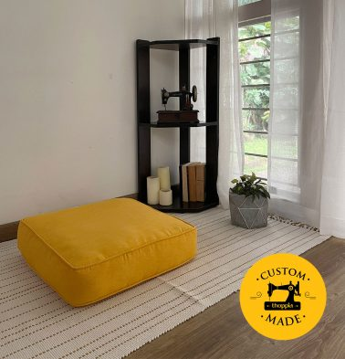 Customizable Floor Cushion, Textura Cotton - Daffodil Yellow