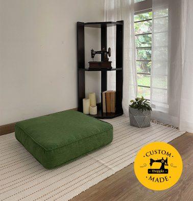 Customizable Floor Cushion, Textura Cotton - Cactus Green