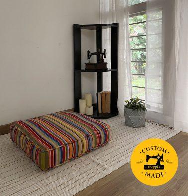 Customizable Floor Cushion, Cotton - Sunny Stripes - Multi-color