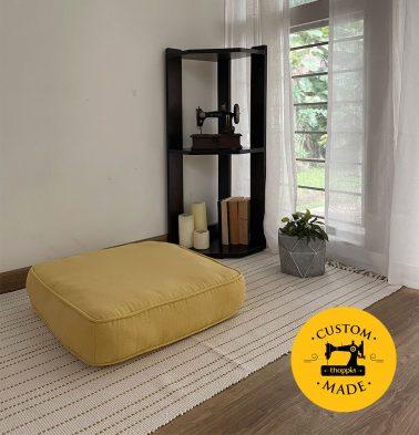 Customizable Floor Cushion, Panama Weave Cotton - Yolk Yellow