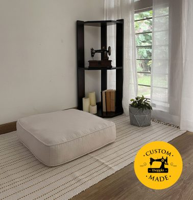 Customizable Floor Cushion, Panama Weave Cotton - Creamy White